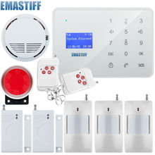 English/Russian Voice Prompt Wireless door sensor Home Security GSM Alarm systems LCD Display Wired Siren Kit SIM SMS Alarm