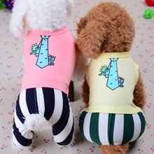 2016 Spring Summer Cotton Pet Dog Clothes Brand Stripes Jumpsuit Cartoon Tie Pattern Overalls for Dog Puppy Yorkshire Apparel