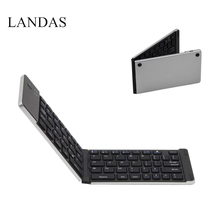 Landas Portable Mini Folding Keyboard Bluetooth Wireless For iPhone Foldable Keyboards Bluetooth For Android Smart Phone Tablets(China)