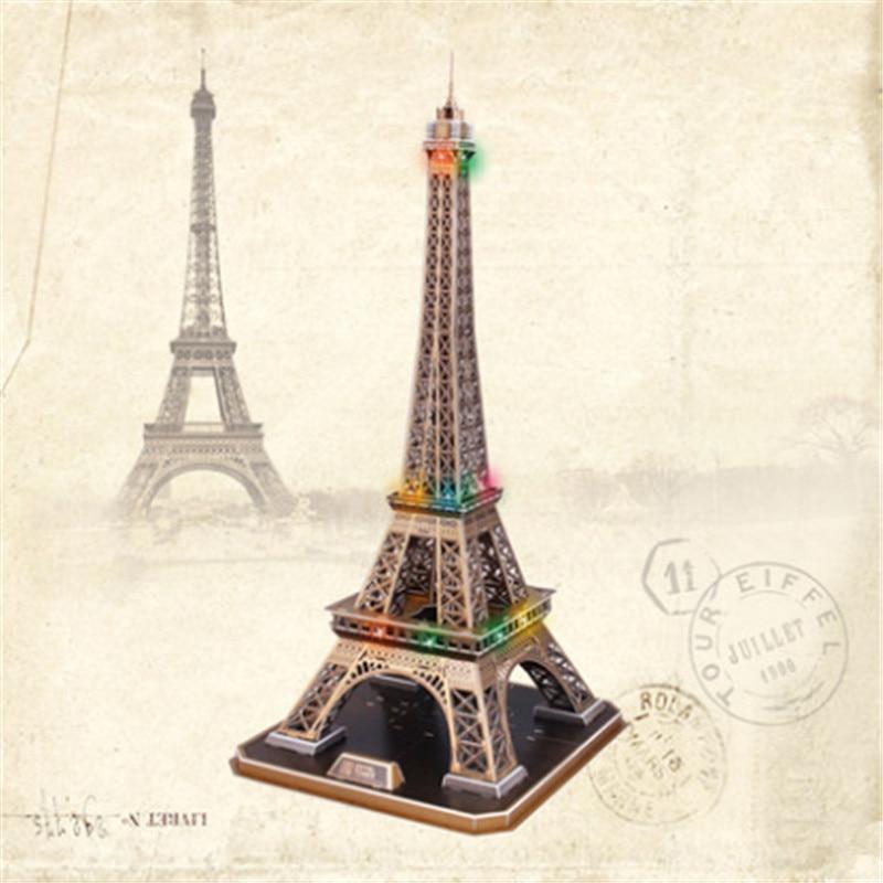 Kids Toys Cubicfun 3D Puzzle L091h Paris Eiffer Tower Model, DIY Architectural Features Flavor LED Puzzle 3D Toy / Brinquedos <br><br>Aliexpress