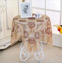 [WIT] 85*85cm Embroidery Table Cloth Banquet Rectangular Table Cloths Gauze Coffee Table Cover European Dinning Table Cloth Lace