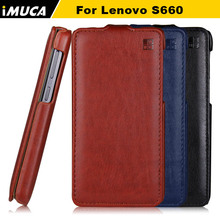 IMUCA brand Luxury Case for Lenovo S660 S668T S 660 flip leather cases cover mobile phone accessories with retail package(China)