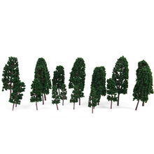 1/100-1/300 20pcs Model Pine Trees Model Railroad Scener Diorama Blackish Green Model Building Kits Child Classic Toys Supplies