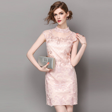 Summer dresse Luxury brand sleeveless stand embroidered nail drill pure color pink blue step set the focus of the party dress(China)