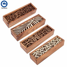Retro Wooden Pencil Case Hollow Out Boxes Desktop Stationery Storage Organizer Student School Office Use Pencil Boxes 4 Types(China)
