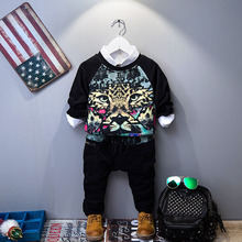 hot sale 2016 Boys Girls Tiger Pattern Kids Clothes Set Cotton Children Clothing Sport suit Sweatshirt + Pants 2 piece suit(China)