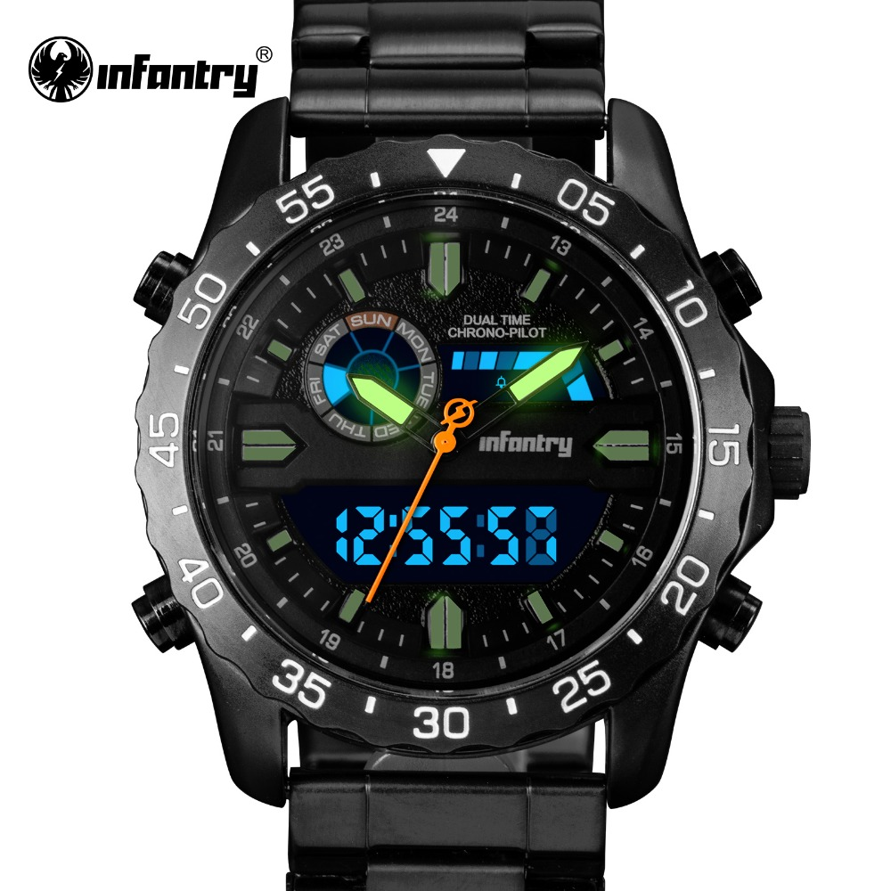 INFANTRY Mens Watch Stainless Steel Luminous 30m Waterproof Military Quartz Watches LED Display Chronograph Sports Watch<br>