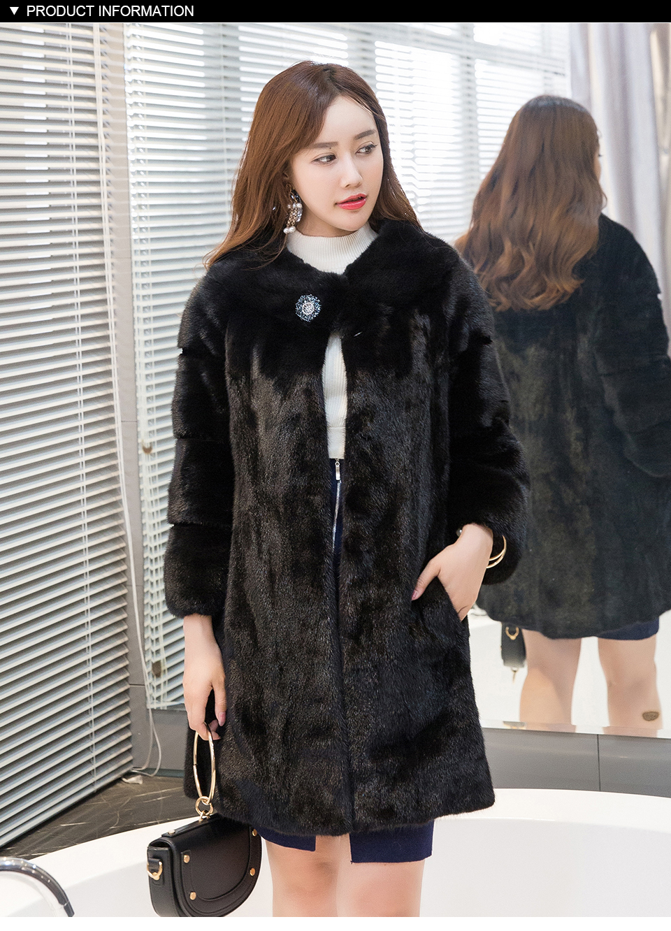 Women Real Mink Fur Black Solid Coat Genuine Mink Fur Clothes 2017 Thick Long Winter Warm Women Female Clothing Fur Jacket