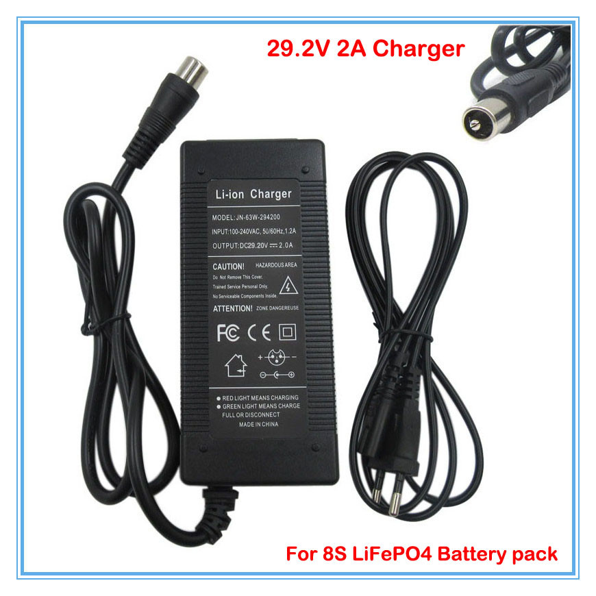24 v charger 29.2V 2A charger 29.2V LiFePO4 Battery Charger RCA Port For 8S 24V LiFePO4 Battery pack free shipping(China (Mainland))