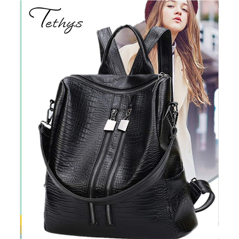 Genuine Leather women backpack fashion sheepskin backpacks for teenage girls black casual travel school bag female sacs a main<br><br>Aliexpress