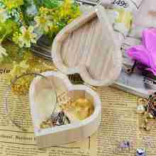 Fashion New Jewelry Box Love Heart Shape DIY Wooden Packaging Carrying Cases Nice Decoration Art Decor Children Kid Baby Crafts