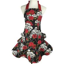 Cotton canvas rose ghost Skull printing Halloween restaurant sky blue nail beauty apron and free shipping