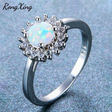 RongXing Simple Fashion Round White Fire Opal Rings For Women 925 Sterling Silver Filled Birthstone Ring Wedding Jewelry RS0219(China)