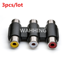 3pcs 3Pin RCA to RCA Female Adapter Connector Cable Audio Video Adapter RCA Coupler Converter for DVD TV CCTV Monitor HY570*3(Hong Kong)