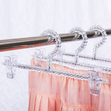 Best selling acrylic trouser hangers leg clips transparent crystal adult hanger clip for shop & home 10 pcs/lot free shipping(China)