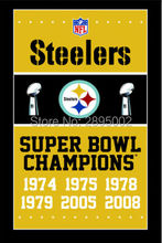 Pittsburgh Steelers Super Bowl Champions Man Cave Sports Banner Basketball Flag 3' x 5' Custom Hockey Baseball Football Flag
