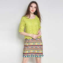 Women Ethical Green Lace Dress Pieced Tribe Pattern Printed Fringe Trim 1/2 Sleeve Shift Dresses Plus Size L TO 5XL