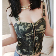 2017 Women Fashion sexy camouflage shirts sleeveless tops cropped vintage denim zipper stretch camisas femininas Club Wear Hot