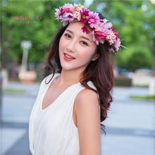 2pcs Handmade Woman Girls Daisy Flower Headband Party Wedding Fabric Flower Wreath Hair turquoise Flower Crown Hair Accessories
