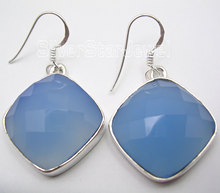 Chanti International Gift !! Silver SQUARE CUT CHALCEDONY GIRLS' Earrings 4 CM NEW(China)