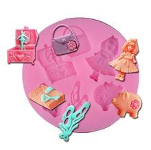 Food-grade Silicone girl purse pig 3D Cake Mold sugarcraft Fondant Decoration candy Mould chocolate Bakeware LW0607