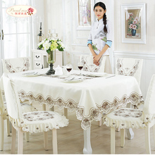 European Contracted White Silk Embroidered Tablecloths Household Tea Table Cloth TV Ark Cover Table Runner Chair Cushion