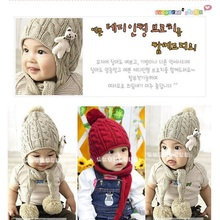 Bear wool knitting Children cap Baby Boy headwear Beanie Girls winter hat ear Kids Bucket Hat Bebes Infant Cap Bonet(China)