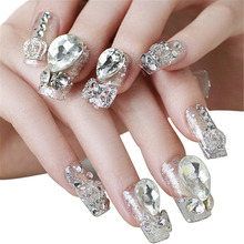Hot Sale  20PCS Shiny Nail Strips 3D Diamond 3D Crown Nail Sticker Bride Nail Patch Bright Shine Stars Nail Art Stickers New