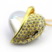 Novelty pen drives Free shipping 4Gb/8Gb/16Gb/32GB necklace jewelry usb flash drive memory  crystal heart shape metal usb memory