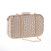 Hollow Dinner Bag with Metal Chain Graceful Women Evening Bags Delicacy Girl Ladies Wedding Party Banquet Handbag Clutches Bag