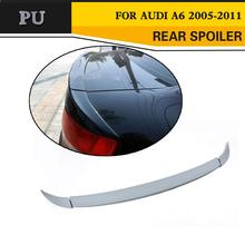 PU Unpainted Grey Primer Style Trunk Boot Wing Lip Spoiler For Audi A6 C6 2005-2011