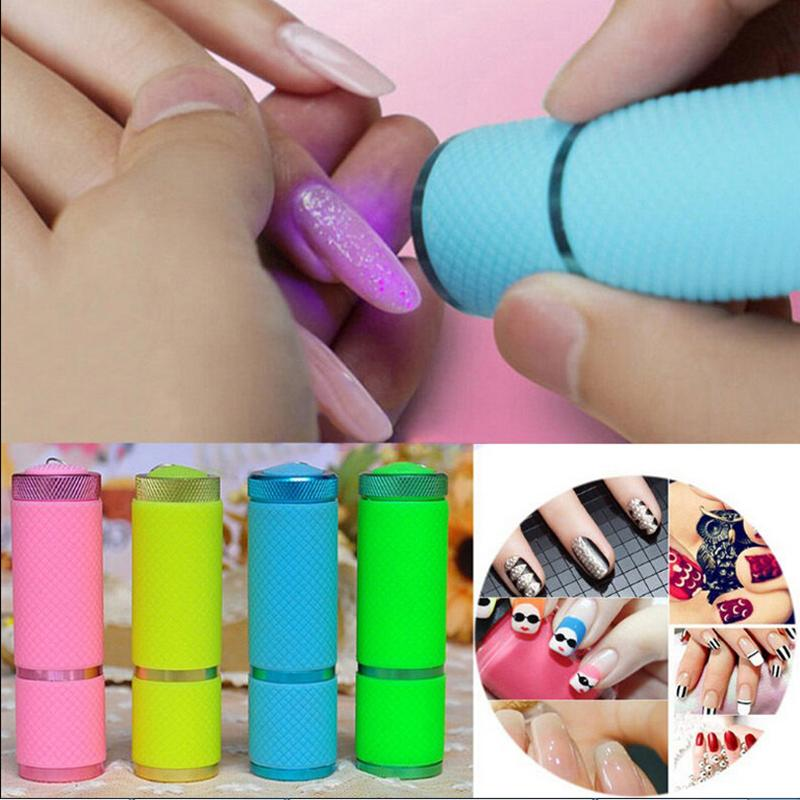Portable Mini 9 LED Nail Dryer Curing led gel lamp Flashlight Torch For UV Gel Nail Polish Dryer Beautiful Tools