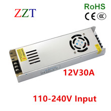 360W 12V 30A Small Volume Single Output Switching power supply  Driver For LED Light Strip Display AC200-240V Free shipping