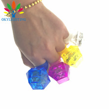 LED Glowing Huge Diamond Finger Ring Novelty Flashing Light up toys for Kids Birthday wedding Decoration party Favors 60PCS(China)