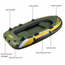 Rubber Boat Kit PVC Inflatable Fishing Drifting Rescue Raft Boat Life Jacket Two Way Electric Pump Air Pump Paddles From Russia(China)