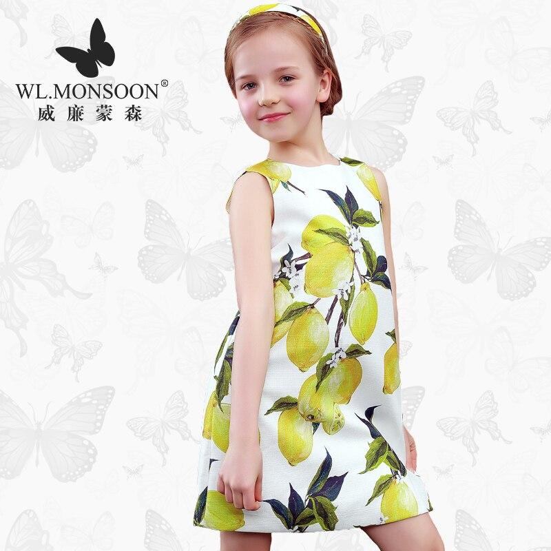 monsoon Girls Dresses Summer  Baby Girls Clothes Kids Dresses Lemon Print Princess Dress Girl Party Cotton Children Dress 76<br><br>Aliexpress