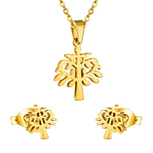 Unique Design Big Tree Pendant & Earrings Fashion Jewelry Set For Anniversary Gift, Anti Allegic Stainless Steel Gold/Silver