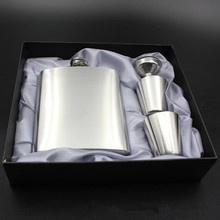 With gift box 2 cup stainless steel blank no logo querysystem hip flask 7 oz jug set SGS Authenticate High quality products