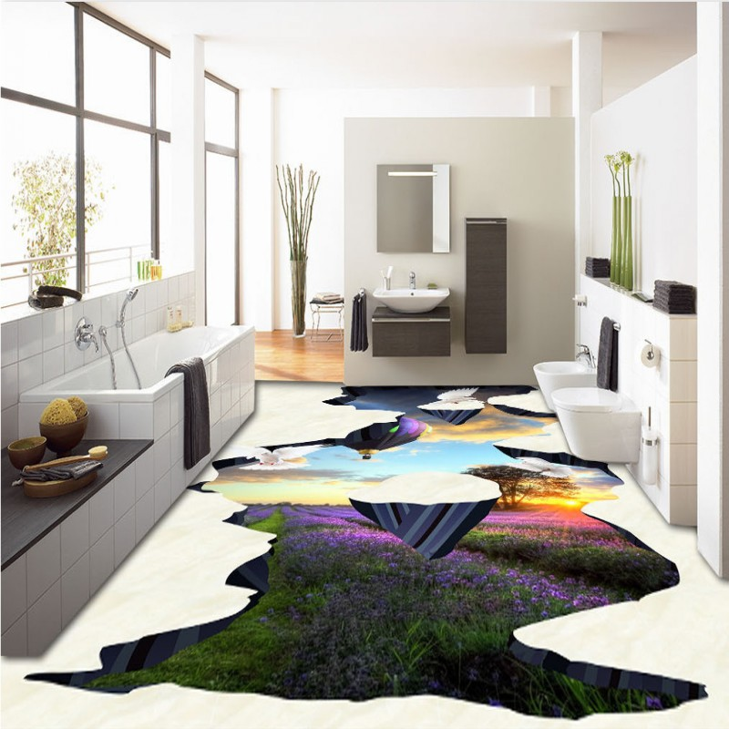 Free shipping custom 3d Beautiful sunset tulip balloon dove 3D painting floor waterproof self-adhesive chinese photo wallpaper<br><br>Aliexpress
