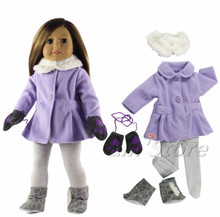"5in1 Set Doll Clothes Outfit Coat+shawl+tights+one pair boots+one pairs gloves for 18"" inch American Girl Doll(China)"