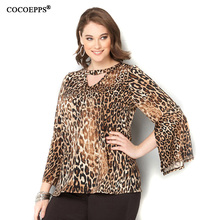 2017 New Spring Summer Tops Plus Large Big Size Women Leopard Print Shirts Fashion V-Neck Sexy Blouse Clothing Casual 4XL 5XL(China)