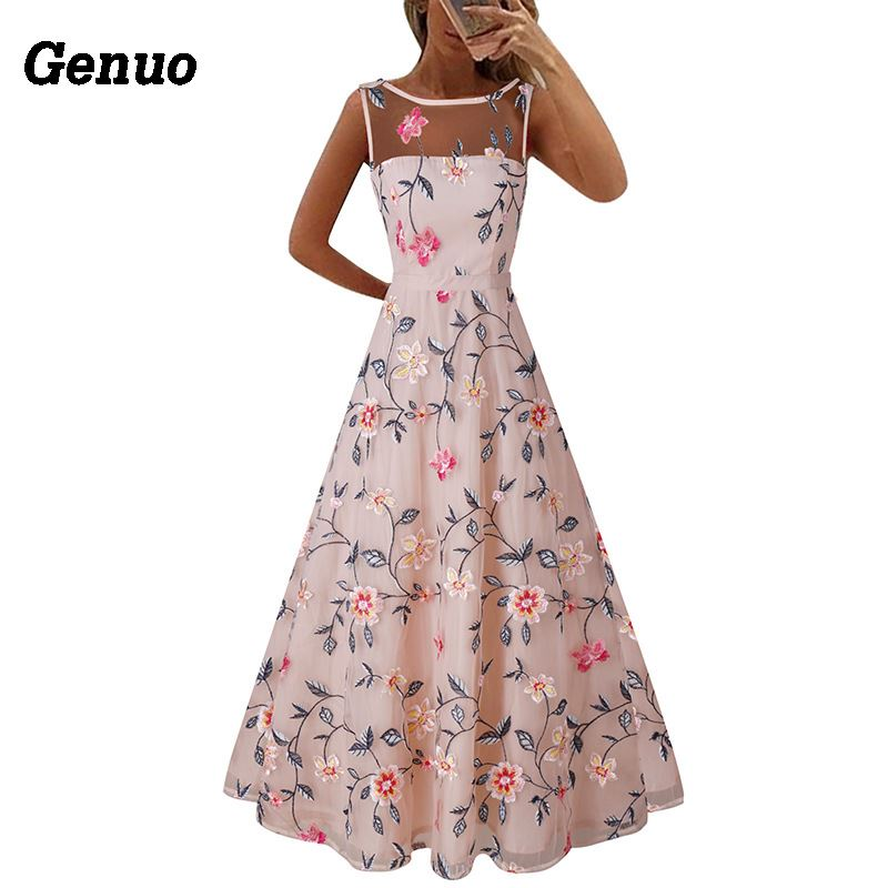 Flower Embroidery Maxi Dress 6