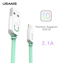For IPhone Cable IOS 10 9 USAMS 2.1A Fast Charging 1m 1.5m Flat Usb Charger Cable For iPhone 7 i6 iPhone 6 6s Cable