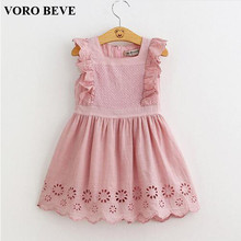 VORO BEVE New summer kids clothes girl dress 2017 children clothing princess dress embroidery clothes vestidos