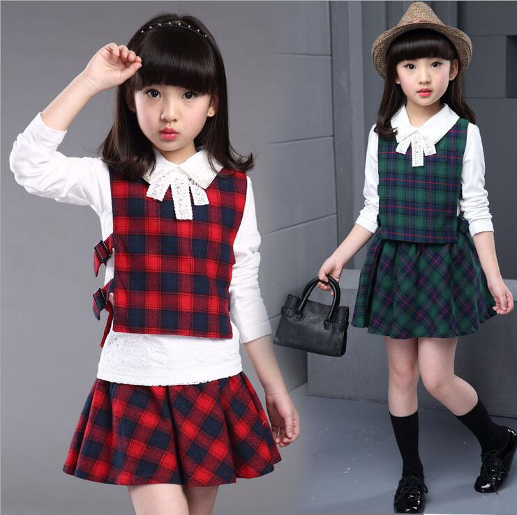 Girl Children Clothing In The Spring And Autumn Infantil Menina Kids Bow Decoration Three-piece Plaid Skirt Suits Of The girls <br><br>Aliexpress