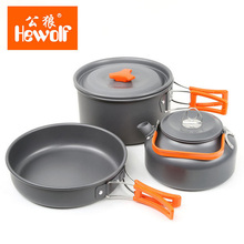 Hewolf Durable Portable Outdoor Travel Pot Kettle Camping Cookware Aluminum Alloy Foldable Tableware Picnic Camp Cooking Set Kit