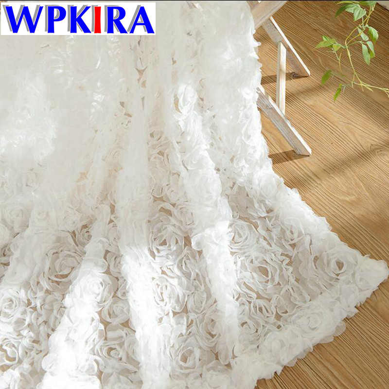 3D Rose Curtains Voile Pastoral Korean Kitchen White Lace Curtain for Living Room Wedding Bedroom Custom Window Screens WP148-30