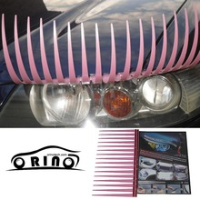 Hot Sale 1pair=2pcs/lot Hot selling 31cm Pink Color 3D Car Cecor Stickers And Decals For Headlights Car Eyelashes