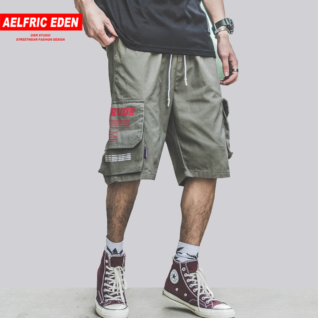 Aelfric Eden New Solid Color Hip Hop Short Pants Multi-pockets Drawstring Mid Shorts Men Strretwear Workout Sports sweatpants