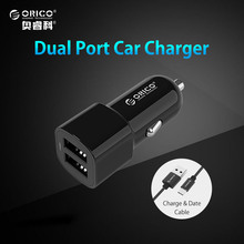 ORICO Dual Port USB Output Car Charger 2.4A max Charge+Micro USB Cable 1M for Samsung Galaxy Xiaomi and More Smart Phones(China)